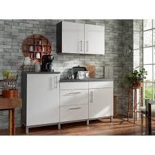 menke küchenzeile rack time single 180 cm weiß hochglanz graphit