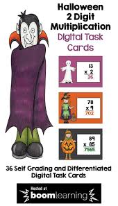 Halloween Math Multiplication Worksheets by Halloween Math 2 Digit Multiplication Digital Task Cards Boom