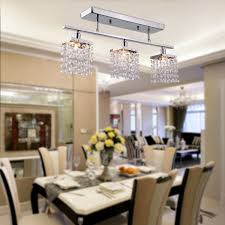 3 Light Hanging Crystal Linear Chandelier With Fixture Modern Flush Within Brilliant Dining Room Lighting