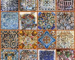 barcelona gaudi mosaics collage print parc guell colorful tiles