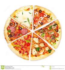 Pizza slice with different toppings Royalty Free Stock