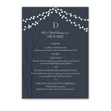 Wedding Dinner Menu Cards Navy Blue Rustic Featuring A Tree Silhouette And String Lights On