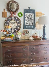 Fall Decor Above A Kitchen Sideboard