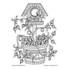 Coloring Pages For Grown Ups And Adults This Fun Bird House In A Flower Pot Is Sure To Inspire Your Creativity Printable With Details