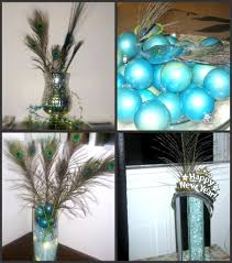 Marvelous Decoration Ideas With Peacock Home Accents Interior Design Artistic Blue Bauble And Feather