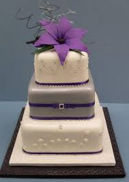 Wedding Cake Square Purple Tri Tier With Rounded Corners And