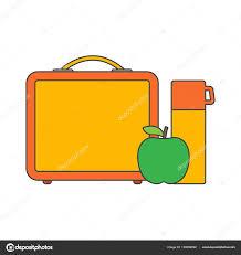 Lunch Break Time Box School Apple Water Stock Vector