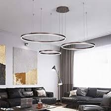 modern led pendelleuchte 3 ring rund hängeleuchte braun kronleuchter höhenverstellbar decken pendelle für halle wohnzimmer esszimmer esstisch küche