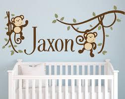 Monkey Wall Decor Monkey Wall Decor Nursery Wall Decal Monkey Decor Nursery Wall Decor Boys Name
