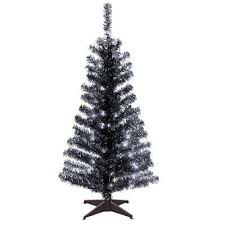 Black Tinsel Artificial Christmas Tree With Clear Lights