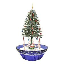 Northlight 31523114 Pre Lit Musical Snowing Rotating Santa Artificial Christmas Tree With Blue LED Lights