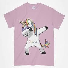 Girls Dabbing Unicorn T Shirt Birthday Dab Personalised Any Name