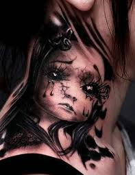 Neck Tattoos Women Dark