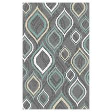 Brilliant Gray And Teal Area Rug 9x12 Designer Modern Contemporary Turquoise Aqua Wool Throughout