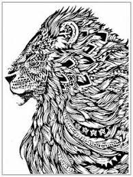 Lion Cat Abstract Doodle Zentangle Paisley Coloring Pages Colouring Adult Detailed Advanced Printable Kleuren Voor Volwassenen
