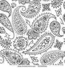 Seamless Indian Paisley Pattern Black And White Illustration For Coloring Book