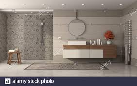 modernes badezimmer mit waschbecken und dusche mit retro