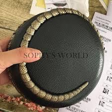 leather women evening bags serpentine round clutch purse cute