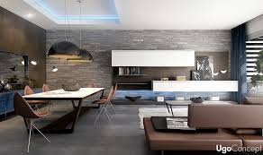 Living Room Set Stone Wall Untreated Brown Grey Floor White Modern Dining Table