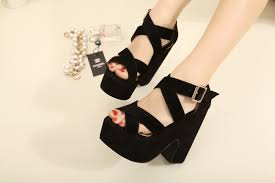 new arrival cross straps open toe wedges thick heel hasp female