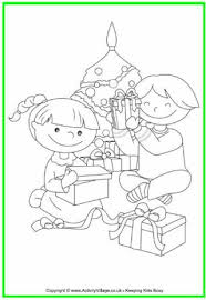 Children Opening Christmas Presents Colouring Page