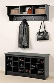 Entryway Wall Mount Coat Rack W Shoe Storage Bench In Black