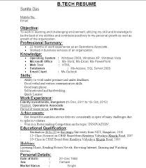 Sample Ece Resume Inspiration Format Freshers B Tech In Samples For
