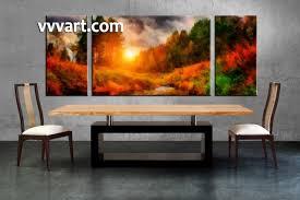 Dining Room Art 3 Piece Canvas Arts Scenery Sunrise Photo