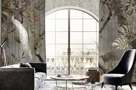 casa padrino luxus vorhang set weißer pfau im wald grau mehrfarbig 250 x h 290 cm bedruckte leinen samt vorhänge ösenvorhänge