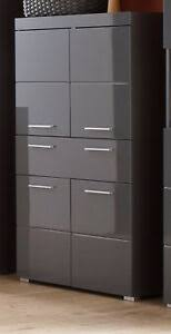 details zu bad schrank midischrank hochglanz grau badezimmer kommode badmöbel amanda 73x132