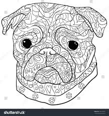 Hand Drawn Dog Mops Isolated On White Background Anti Stress Coloring Page Vector Monochrome