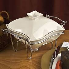 Image Is Loading SIENNA By GODINGER White Ceramic Covered Chafing Dish