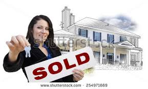 Hispanic Woman Holding Keys And Sold Sign Over House Drawing Photo Combination On White