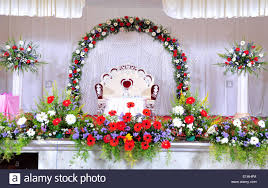 Wedding Stage Decoration With Flowers In Hindu Christian Marriage Kerala India