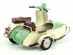 Vespa Scooter Sidecar Motorcycle Model Handmade Antique Metal