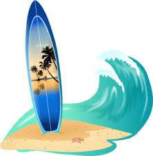 Wave with surfboard clipart
