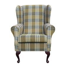 wingback fireside chair in a kintyre pas tartan fabric ebay
