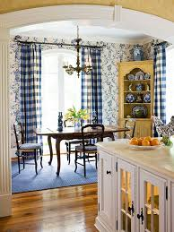 I Love This Country French Dining Area With The Pretty Check Draperies Lovely Toile Wallpaper Yellow Corner Cabinet Its Blue White China Adds
