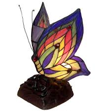 Home Depot Tiffany Style Lamps by Warehouse Of Tiffany 10 In Butterfly Brown Multicolored Accent