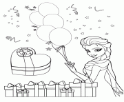 Elsa Holding Balloons Colouring Page