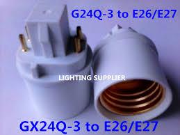 30pcs 4pin g24q 3 to e26 e27 led socket adapter g24q e26 e27