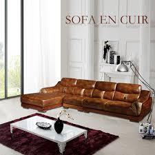 canapé angle en cuir canapé d angle en cuir 4 5 places marron salon meubles maison le