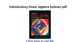 Introductory Linear Algebra Kolman Pdf