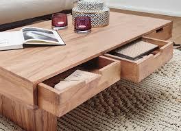couchtisch mumbai massivholz akazie design wohnzimmer tisch 110 x 60 cm mit 6 schubladen landhaus stil holztisch