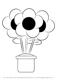 Coloring Page Captivating How To Drawa Flower Draw Pot Step 0