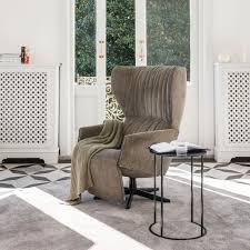 100 Contemporary Armchair Armchair Fabric Leather With Footrest RAPSODY