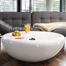 salesfever tisch weiß hochglanz rund aus fiberglas durchmesser 100 cm trisk stylischer wohnzimmer tisch im retro design glas weiss 100