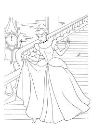 Cinderella Flees From Prince Charming Castle In Coloring Page