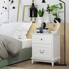 homecho 2er set nachttische nachtschrank in weiß große bettkommode aus holz mit 2 schubläden für schlafzimmer wohnzimmer büro 50 34 5 60 5cm