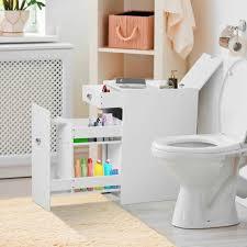 homcom badmöbel badezimmerschrank badschrank mit 2 schubladen und 1 ablagefach holz weiß 48 x 17 x 58 cm weiß